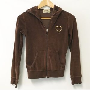 Juicy Couture Velour brown bling heart jacket M